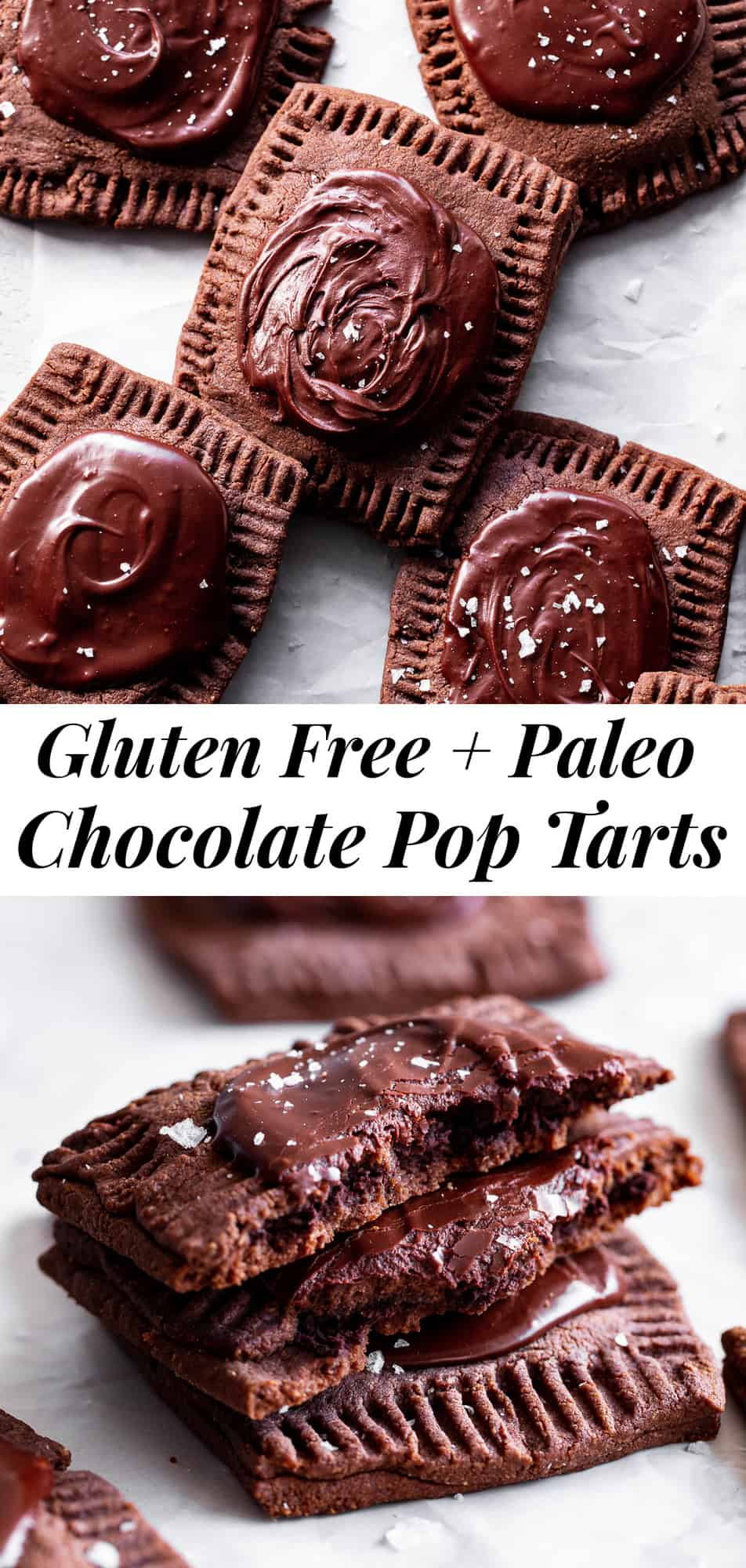 These frosted chocolate fudge pop tarts have passed all the tests! Gooey dark chocolate fudge filling in a flaky grain free pastry crust topped with the perfect chocolate frosting. They're family approved and great for a special weekend baking project! Grain free with paleo and dairy free options. #paleo #cleaneating #poptarts #glutenfree #grainfree