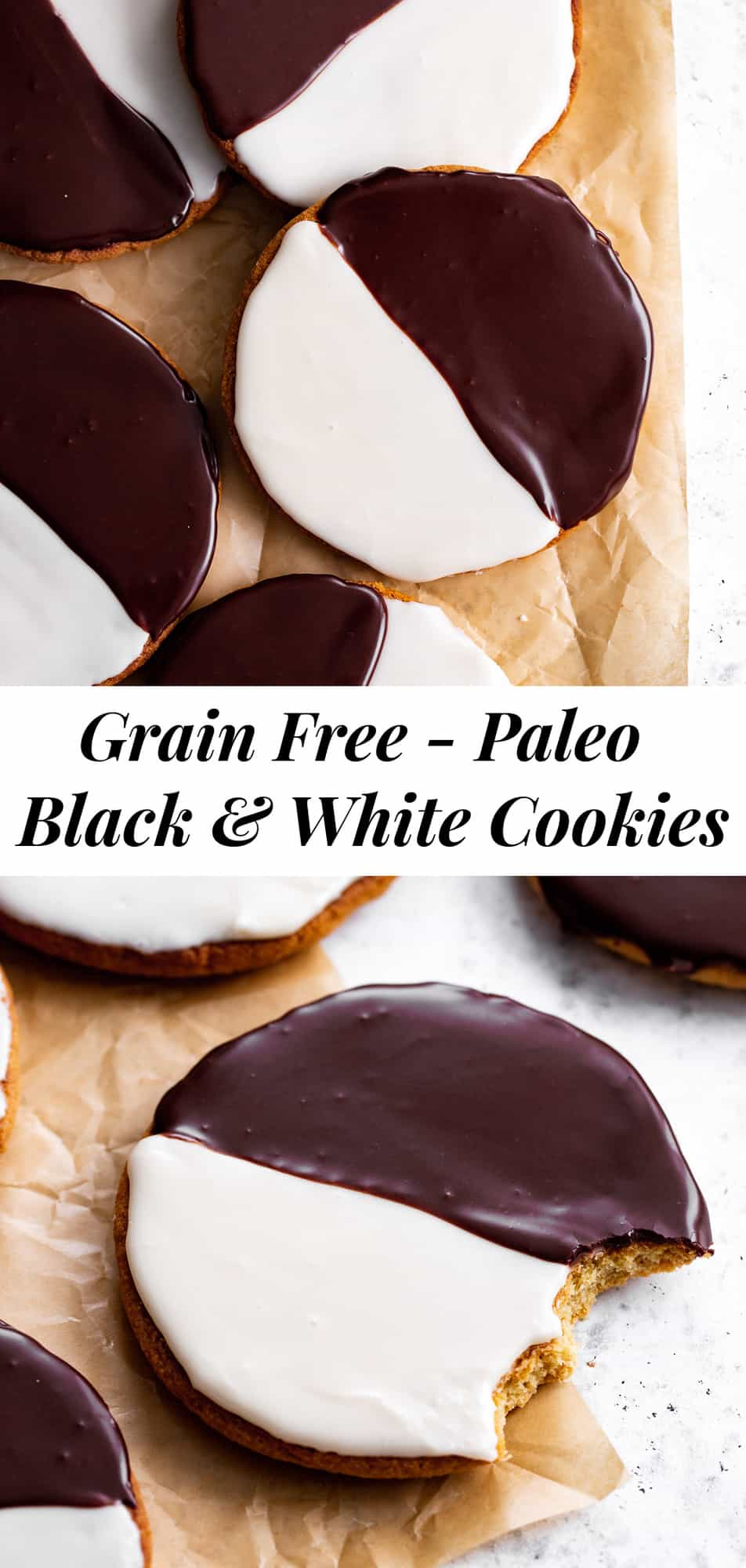 These homemade Black and White Cookies taste just like everyone's favorite New York City style bakery cookies - so much so that you'd never guess they're grain free! This gluten free and grain free cookie recipe has dairy free and paleo options so everyone can enjoy these classic cookies at home! #paleobaking #glutenfree #grainfree #paleo #cleaneating #glutenfreebaking #healthybaking