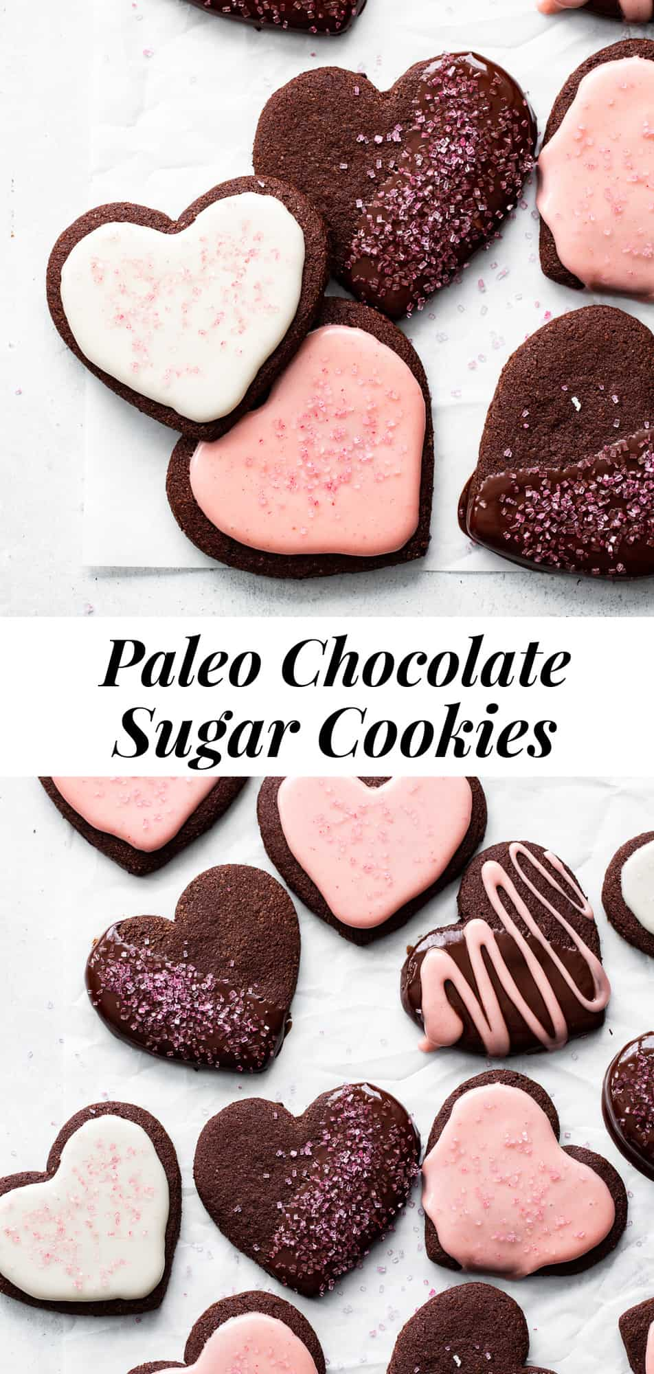 These Paleo Chocolate Sugar Cookies have lots of rich chocolate flavor with crisp edges and slightly chewy middles.  They're paleo, grain free and gluten free with dairy free options and perfect for any special occasion!  #paleo #paleobaking #glutenfreebaking #cookies #glutenfree