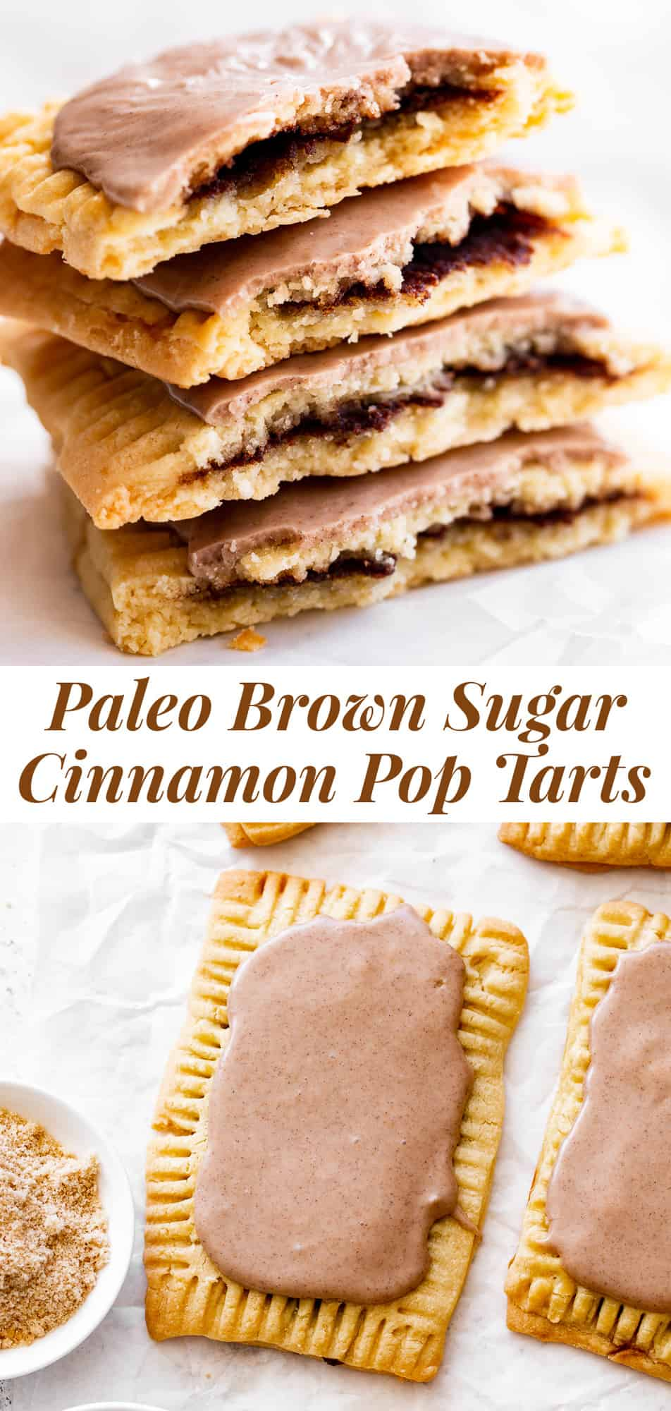 The ultimate healthier version of the absolute best nostalgic treat is here! These brown sugar cinnamon pop tarts taste so much like the originals but without any of the unhealthy ingredients! They're made gluten free and grain free with dairy free and paleo options. A fun from-scratch healthy baking project for kids to help with. #paleo #paleobaking #paleotreats #glutenfree #glutenfreebaking #healthybaking