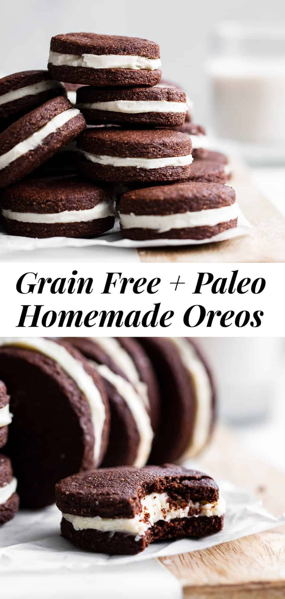 Make a healthier version of your favorite cookies at home with these easy paleo homemade Oreos! They're grain free and gluten free with dairy free and paleo options, but they taste so authentic that no one would ever guess. They're also a fun baking project for kids to help with! #paleobaking #glutenfree #grainfree #cookies #oreos