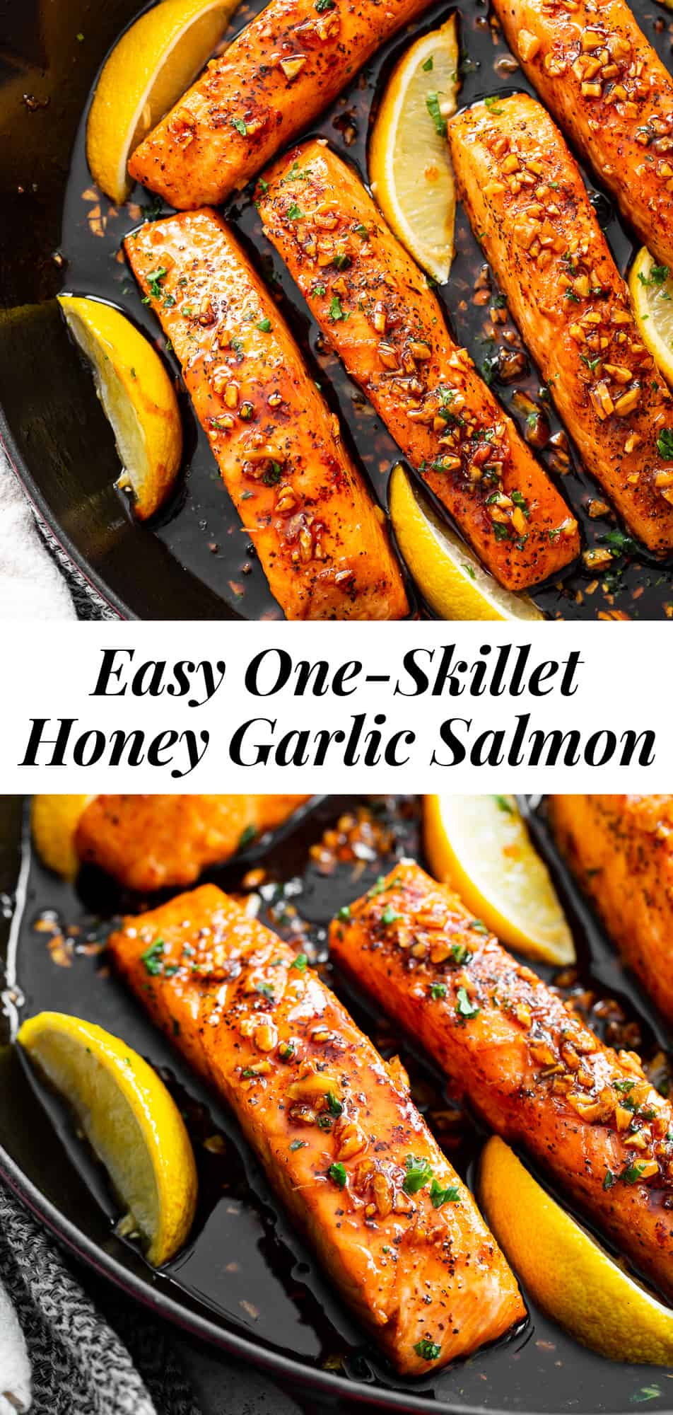 This simple 20 minute honey garlic salmon is made in one skillet and the sauce is addicting!  It's paleo, gluten free and a family favorite.  Serve it over cauliflower rice and with your favorite veggies for a healthy weeknight meal.  #paleo #cleaneating #salmon
