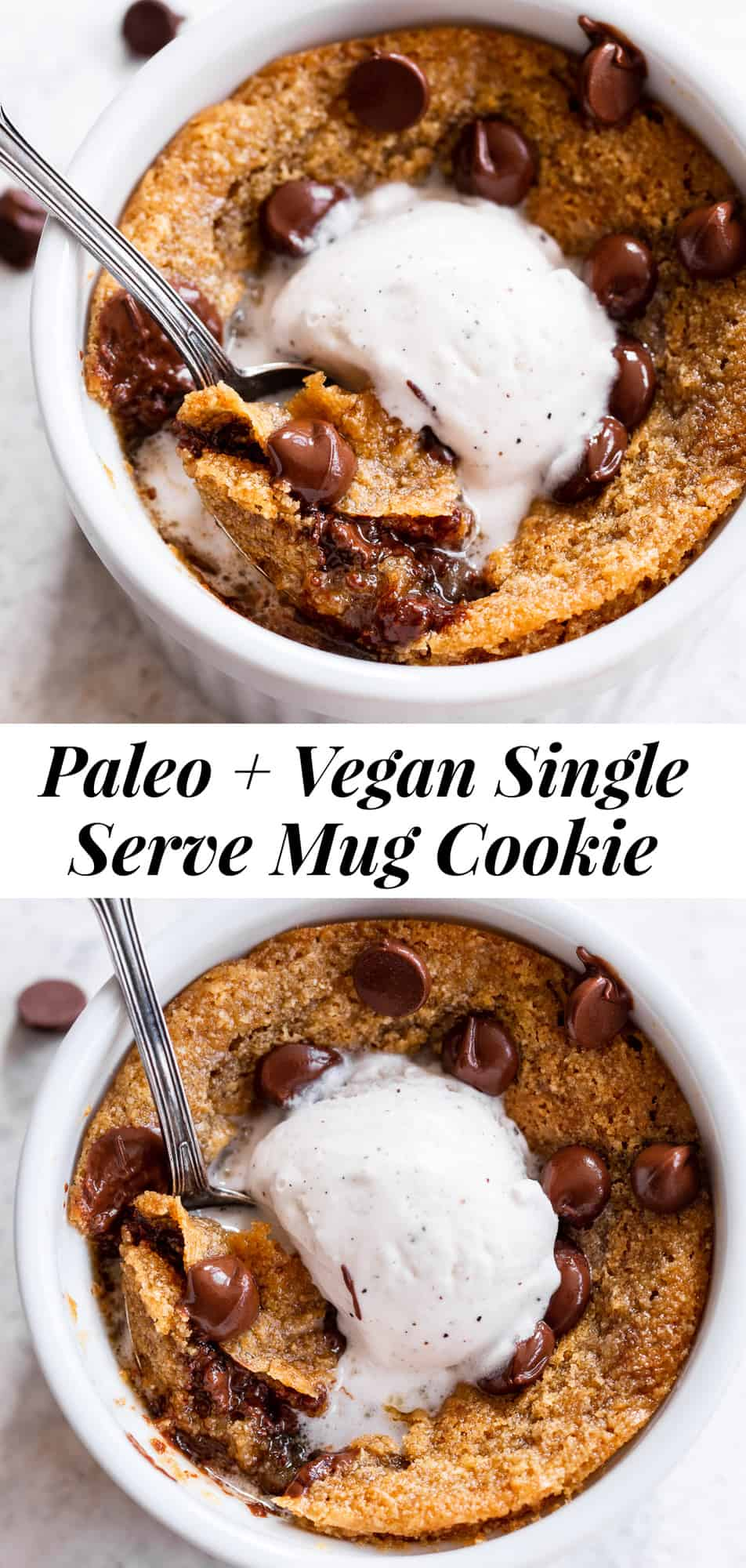 This easy, egg free deep dish chocolate chip cookie in a mug is perfect for when you're craving warm gooey homemade chocolate chip cookies but don't want an entire batch!  This single serve chocolate chip cookie is made in the toaster oven so you can enjoy a personal cookie sundae with extra chocolate chips and a scoop of dairy free vanilla ice cream on top! #paleo #vegan #paleobaking #glutenfree #mugcookie
