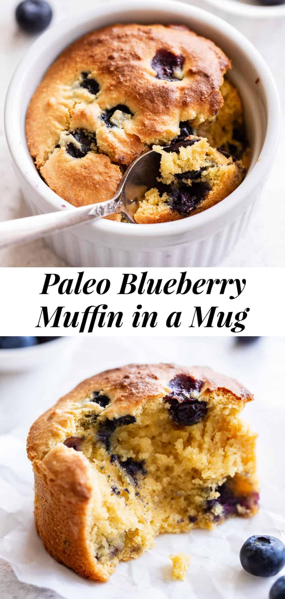 Make a bakery style blueberry muffin in a mug or ramekin that just happens to be grain free and paleo!  This single or double serve muffin is fluffy and tender, loaded with juice blueberries and easy to bake in the toaster oven or oven.  Gluten free, paleo and dairy free. #paleo #paleobaking #glutenfree #cleaneating
