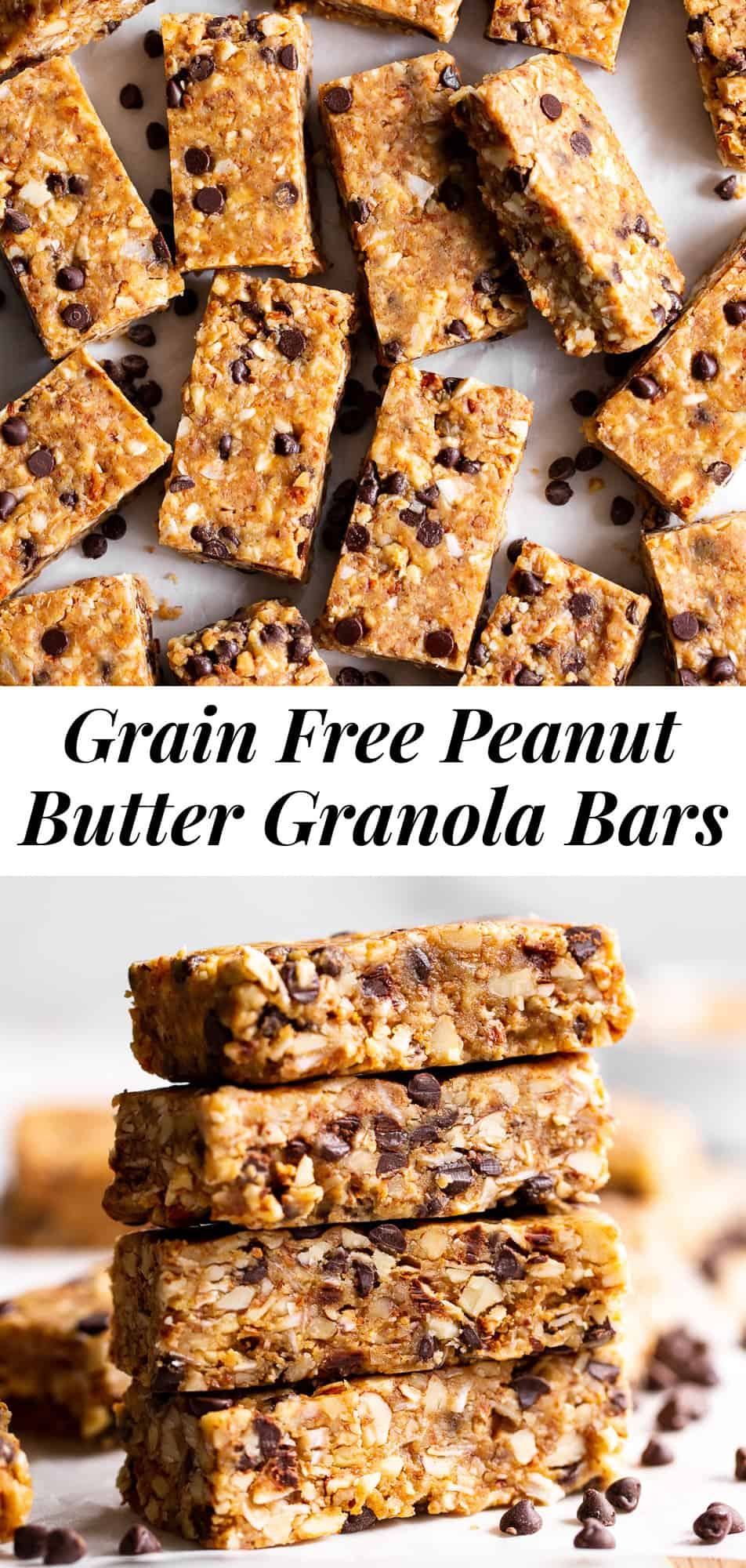 These no bake, chewy peanut butter granola bars are a breeze to make and so addicting! They're gluten free and grain free, with both vegan and paleo options. Perfect for quick snacks, these homemade granola bars are perfect right out of the fridge or freezer. #peanutbutter #grainfree #paleo #glutenfree #granolabars #vegan