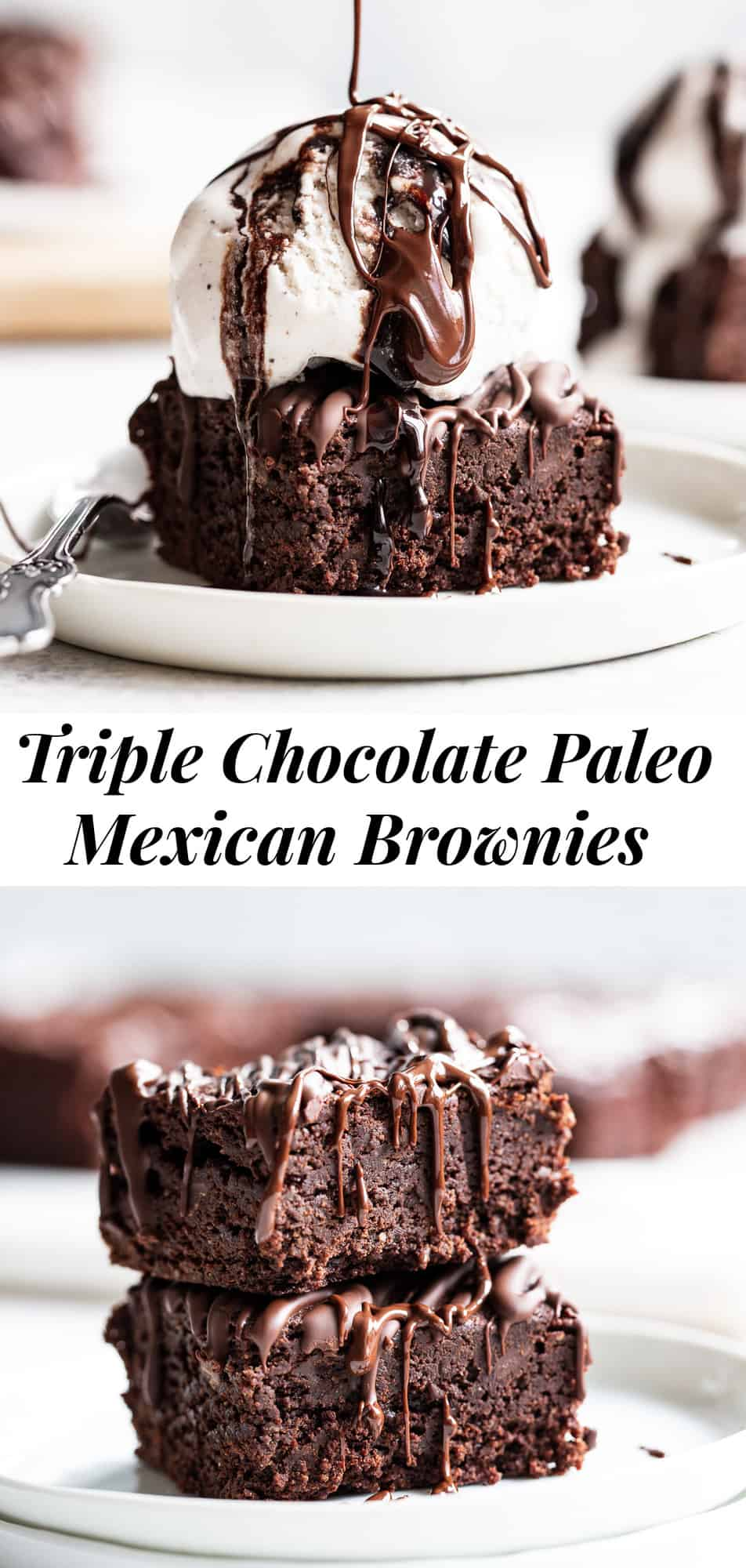 Fudgy Paleo Mexican brownies with just the right amount of spice and loads of chocolate! These triple chocolate brownies are easy to make and perfect when you need a treat but want to keep it healthy. They're gluten free, dairy free and refined sugar free. #paleo #paleobaking #brownies #glutenfree #glutenfreebaking #healthybaking
