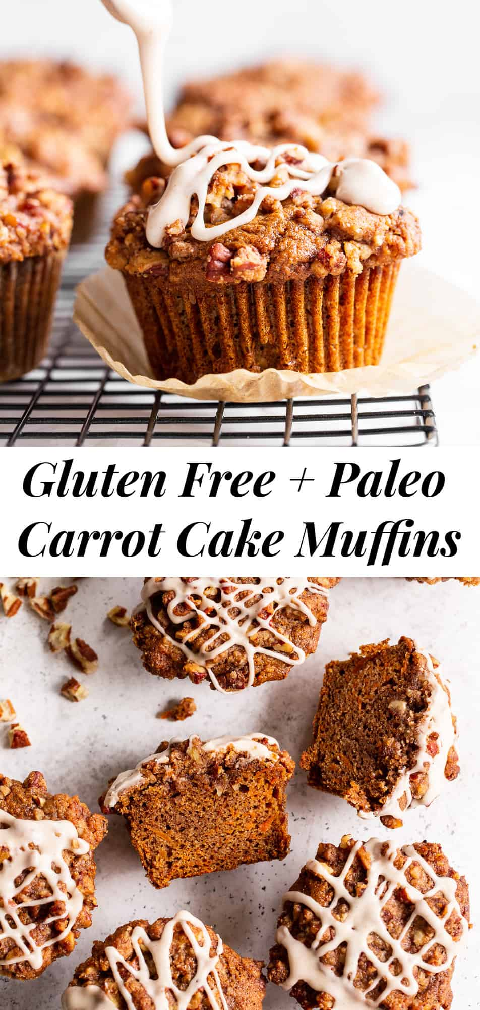 Sweet and moist, with lots of warm spices and an irresistible cinnamon pecan crumb topping, these carrot muffins are sure to become a favorite! They're perfect to serve at brunch or making ahead of time as a grab and go breakfast or snack. Gluten-free, dairy-free, paleo, and family approved! #paleo #glutenfree #carrotcake #paleobaking #glutenfreebaking #cleaneating