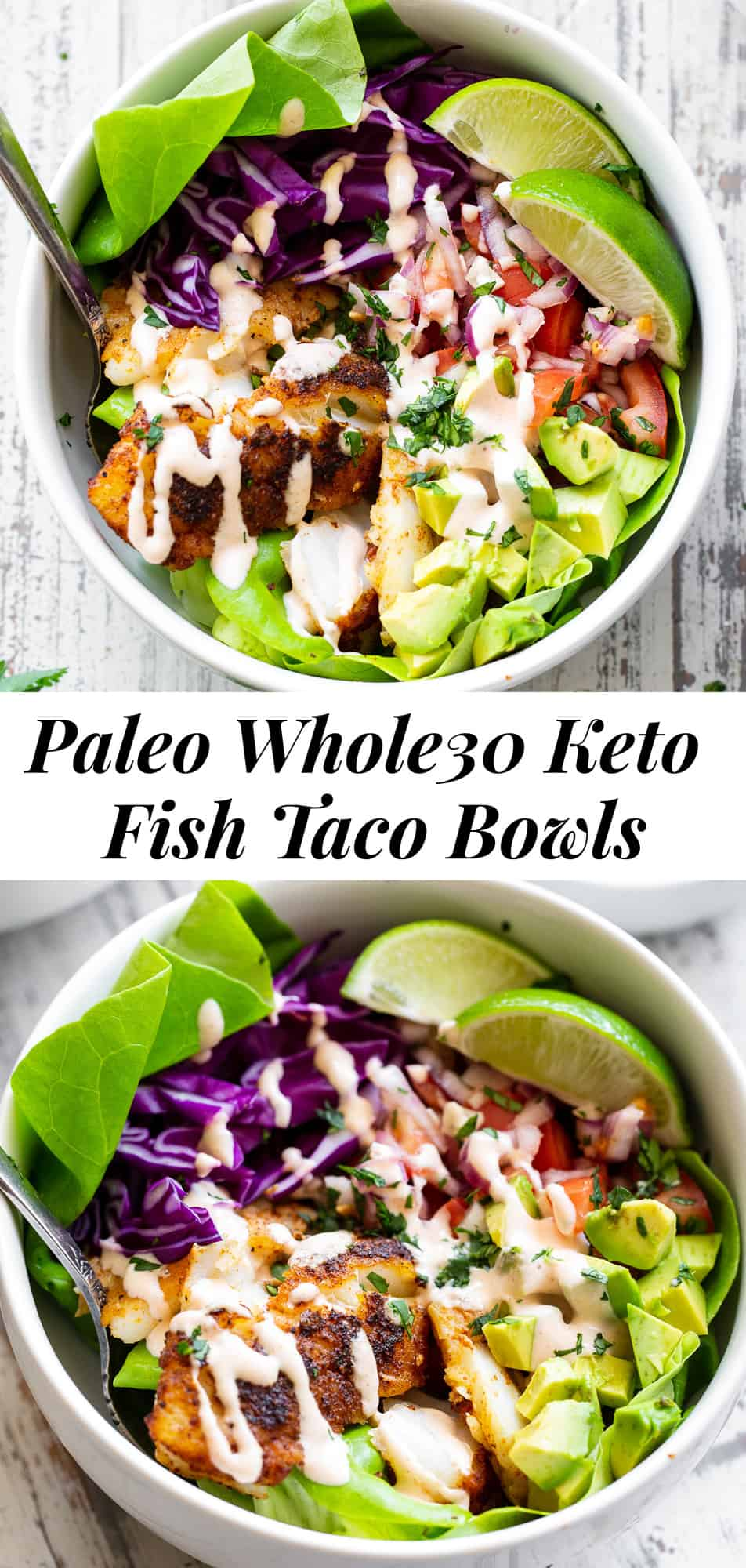 These healthy fish taco bowls are easy to prepare and packed with flavor! Perfectly seasoned and tender, flaky fish with a quick salsa, addicting sauce, avocados and veggies. These taco bowls are paleo, Whole30, and keto friendly. Perfect for a light quick dinner any day of the week.