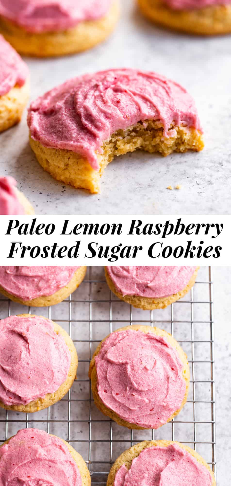 You won't believe how deliciously dreamy these lemon sugar cookies are! Soft and slightly chewy paleo sugar cookies with the perfect amount of lemon flavor are topped with an easy pink raspberry frosting for an extra special treat that everyone will love. No one would ever guess these cookies are gluten free, dairy free and refined sugar free! #paleo #cleaneating #glutenfree #paleobaking #paleodessert #paleocookies #sugarcookies