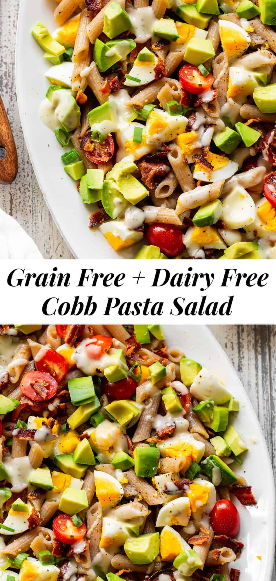 This Cobb Pasta Salad has all the goodies and no one will guess it's paleo! Bacon, eggs, tomatoes, green onions and avocados are tossed with grain free pasta and drizzled with dairy free ranch dressing. A favorite for BBQ and picnic season, this salad is a great healthy side dish or a main course! #paleo #cleaneating #grainfree