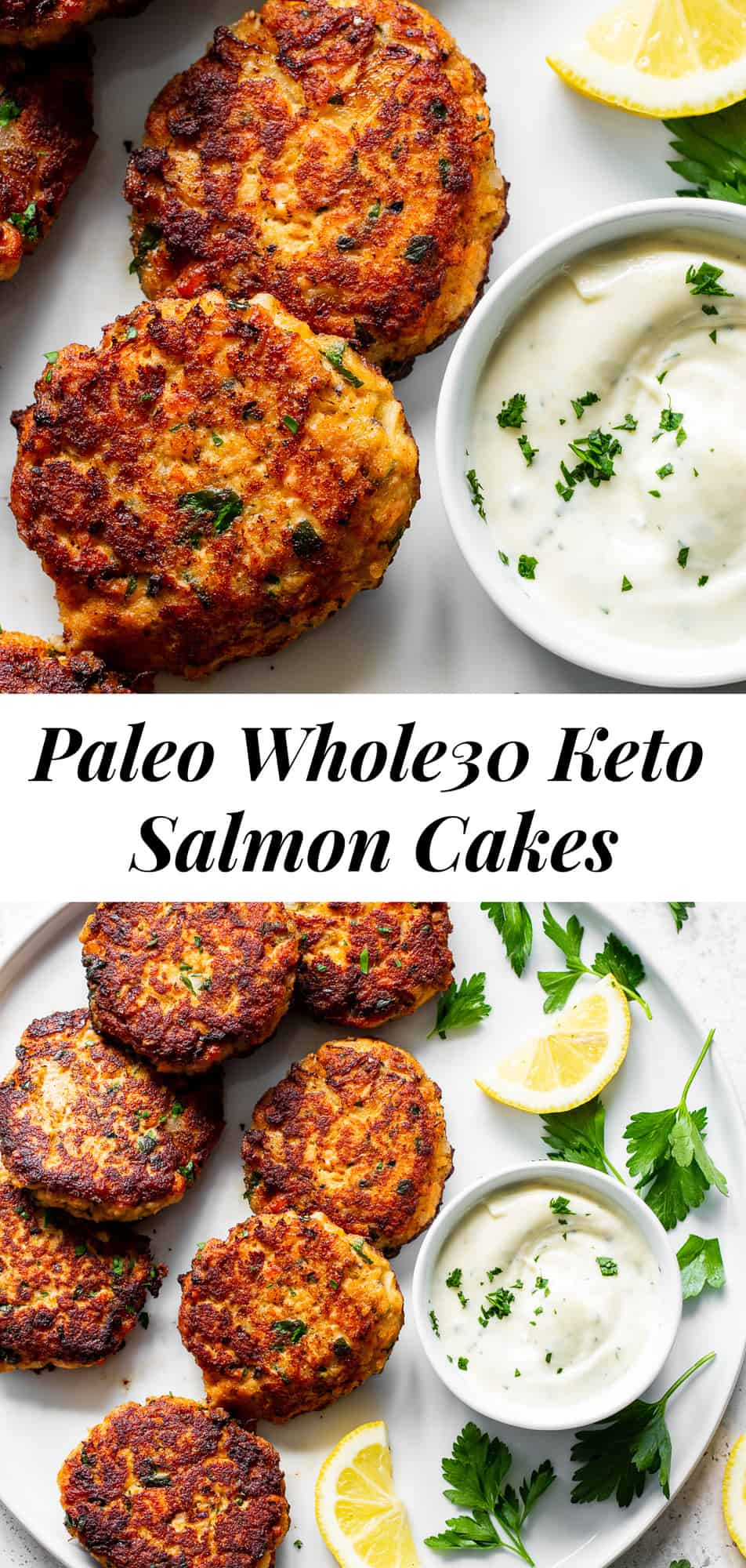 These simple salmon cakes are packed with flavor, easy to make and kid approved! Served with an easy aioli, they're perfect over a salad for a light lunch or dinner or with your favorite roasted or sautéed veggies. Paleo, gluten free, Whole30 and keto. #paleo #whole30 #keto