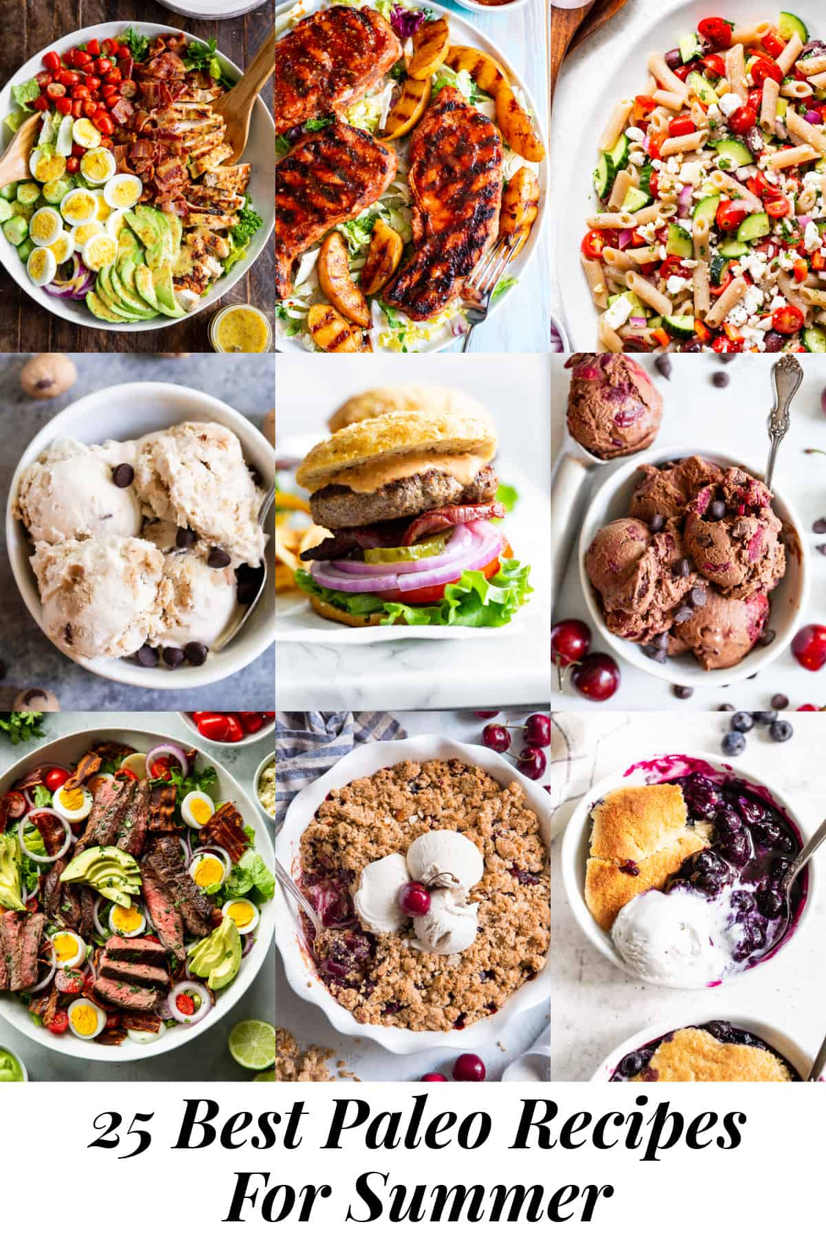 It's all your favorite top rated meals and dessert recipes for Summer, Paleo style! From grilling recipes to salads, to ice cream and the best crisps and cobblers, we've got your cravings covered! All of these delicious paleo recipes for summer are gluten free, grain free, dairy free and refined sugar free. #paleo #cleaneating