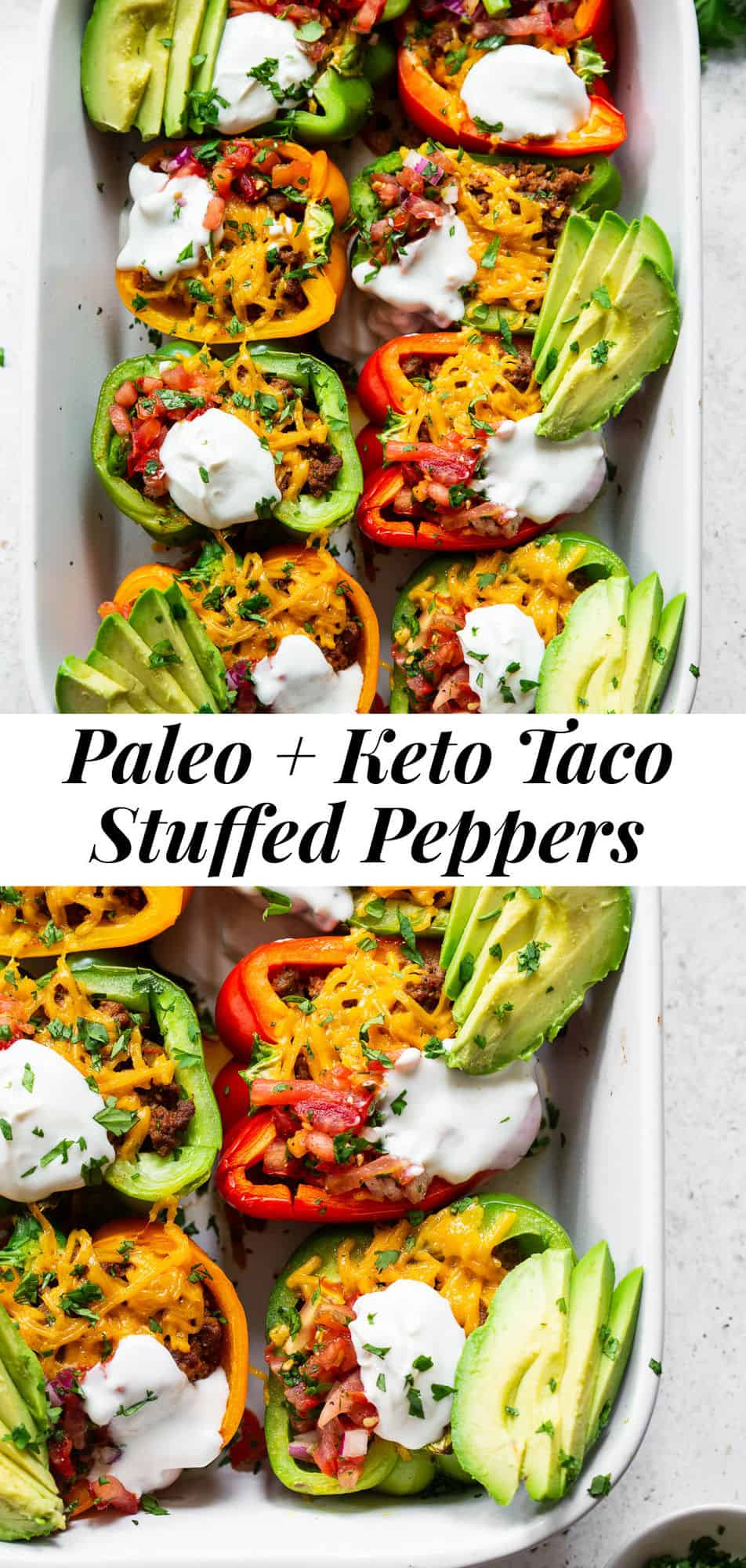 These Paleo Taco Stuffed Peppers are super easy to make and packed with goodies! Bell peppers are filled with the best taco meat and topped with vegan cheese, baked, and topped with all your favorites like fresh pico de Gallo, avocado and dairy free sour cream. Paleo, dairy free and keto friendly. #paleo #keto #cleaneating #lowcarb