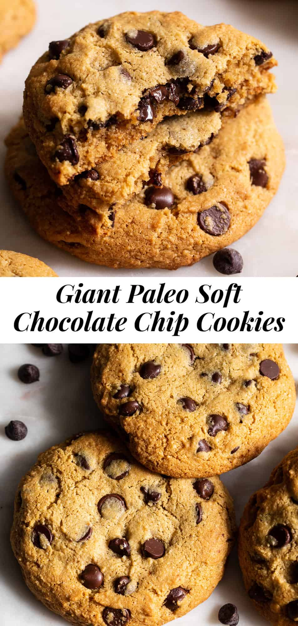 The ultimate giant paleo chocolate chip cookies are here! These cookies are gluten free, dairy free and refined sugar free but you'd never guess! They have a soft slightly chewy texture with loads of gooey chocolate chips and are great served warm or at room temperature.#paleo #cleaneating #cookies #paleobaking #glutenfreebaking